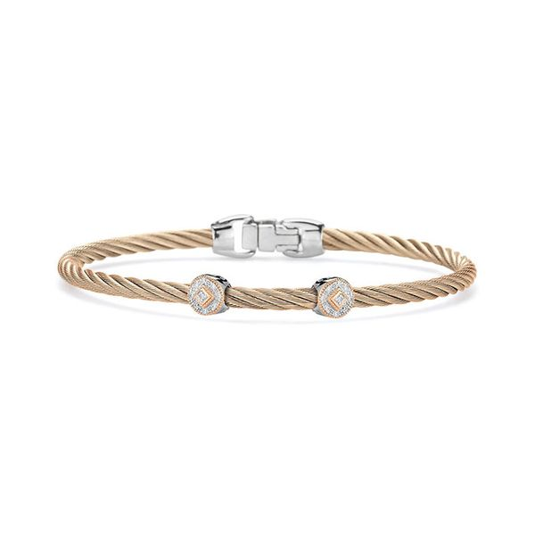 ALOR Carnation Cable Essential Stackable Bracelet with Double Round Diamond station set in 18kt Rose Gold George Press Jewelers Livingston, NJ