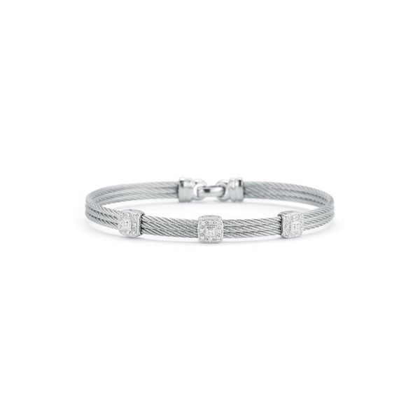 ALOR Grey Cable Classic Stackable Bracelet with Triple Square Station set in 18kt White Gold George Press Jewelers Livingston, NJ