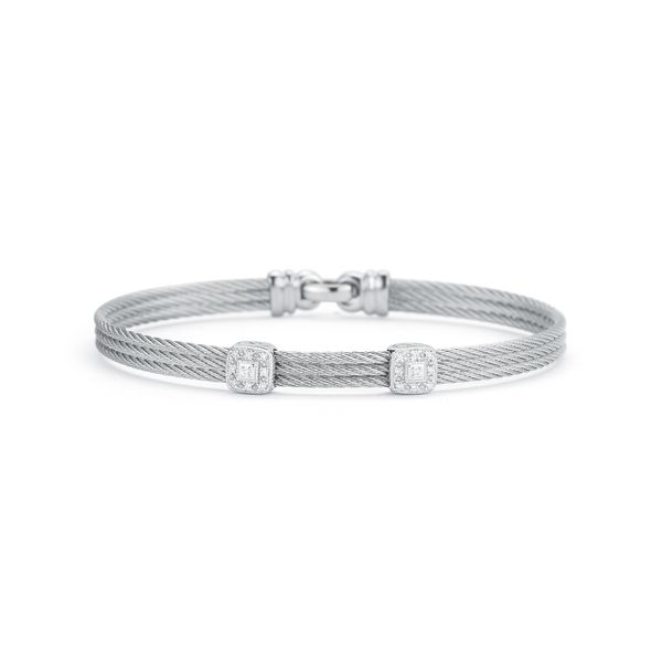 ALOR Grey Cable Classic Stackable Bracelet with Double Square Station George Press Jewelers Livingston, NJ