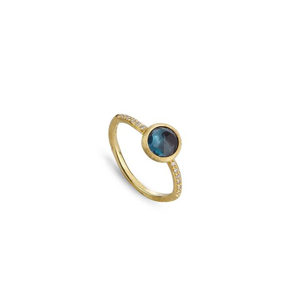 Marco Bicego® 18K Yellow Gold and London Blue Topaz with Diamond Ring George Press Jewelers Livingston, NJ