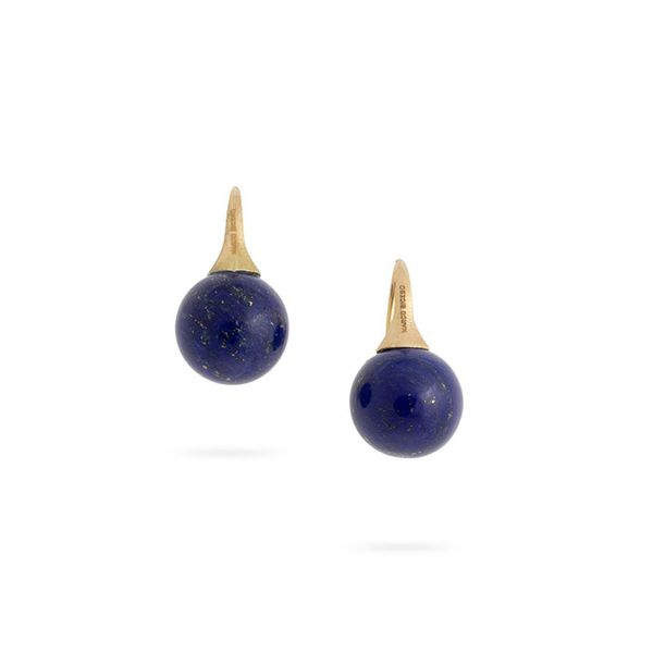 Marco Bicego® Africa Boules 18K Yellow Gold and Lapis French Wire Earrings George Press Jewelers Livingston, NJ