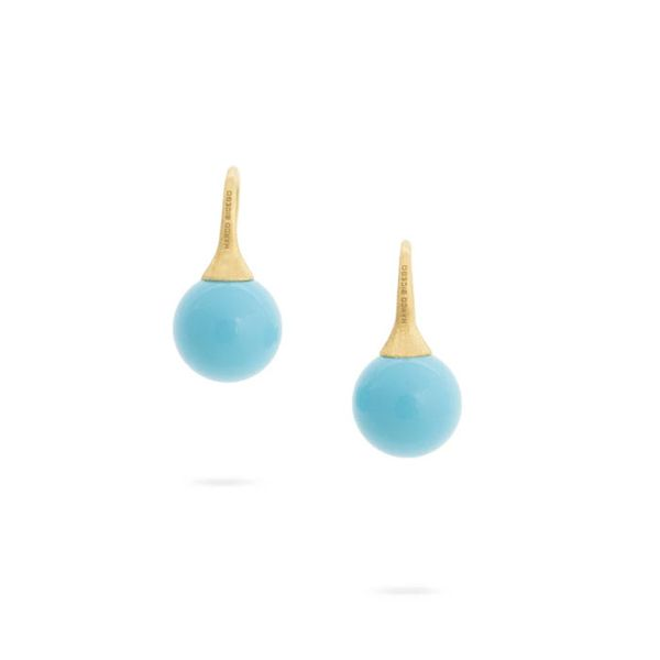 Marco Bicego® 18K Yellow Gold and Turquoise Small French Wire Earrings George Press Jewelers Livingston, NJ