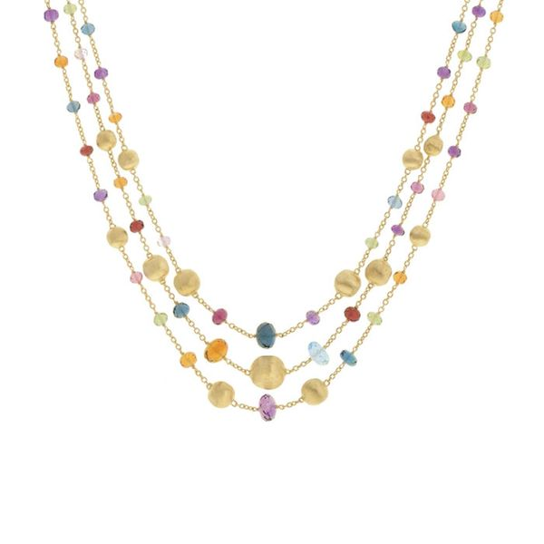 Marco Bicego® 18K Yellow Gold and Multi-Colored Gemstone Triple Strand Statement Necklace George Press Jewelers Livingston, NJ