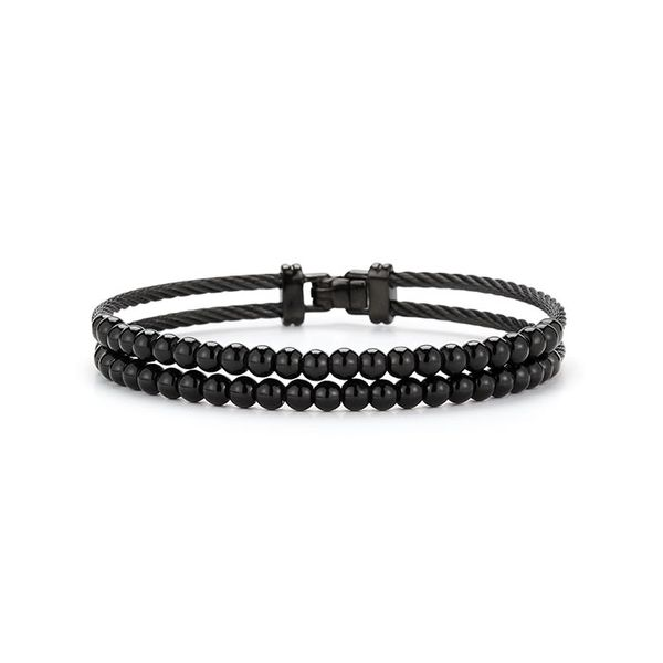 ALOR Black Stainless Steel & Black Onyx Gents Bracelet George Press Jewelers Livingston, NJ