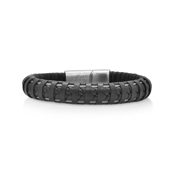 ALOR Black Leather Wrapped Bracelet with Grey Clasp George Press Jewelers Livingston, NJ