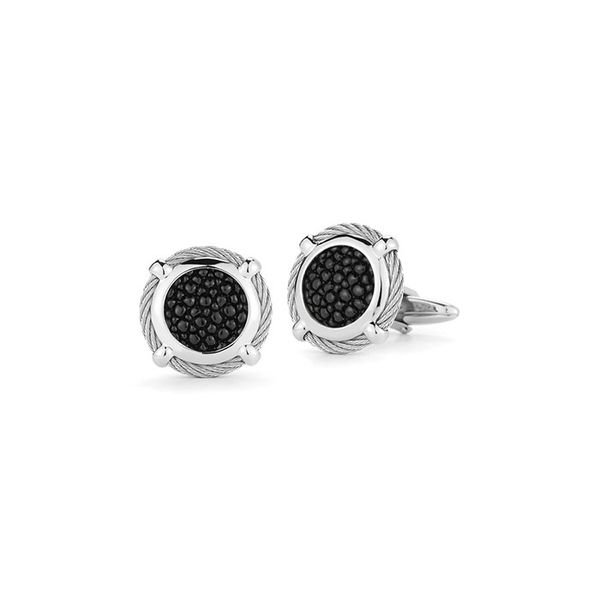 ALOR Grey Cable Classic Round Cufflink with Black Stingray George Press Jewelers Livingston, NJ