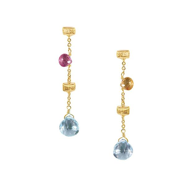 Marco Bicego® Paradise Single Drop Color Gemstone Yellow Gold Earrings George Press Jewelers Livingston, NJ