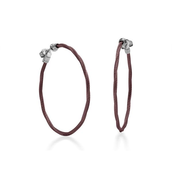 ALOR Burgundy Cable 1.5? Hoop Earrings with 18kt White Gold George Press Jewelers Livingston, NJ
