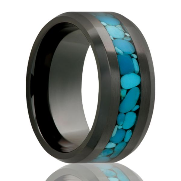 Black Ceramic & Turquoise Band Georgetown Jewelers Wood Dale, IL