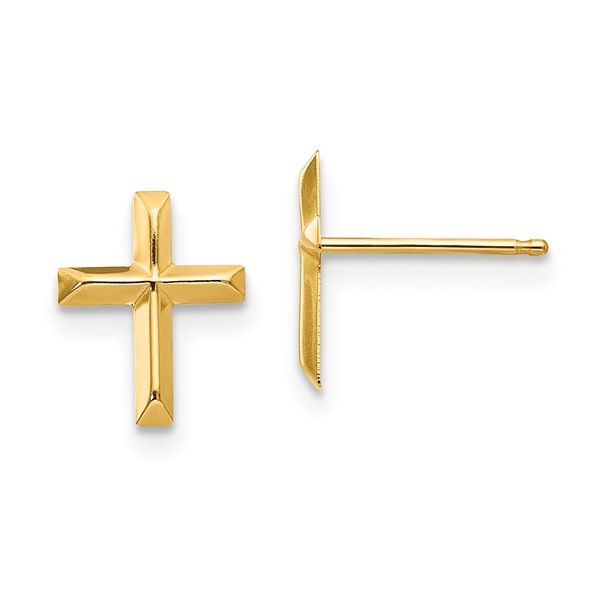 Yellow Gold Baby/Children's Cross Stud Earrings Georgetown Jewelers Wood Dale, IL
