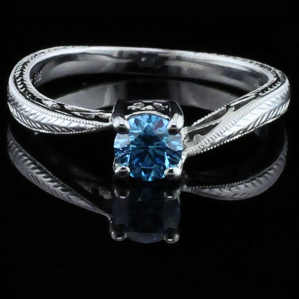 Hearts and Arrows Cut Blue Diamond Wedding Set Image 4 Gerald's Jewelry Oak Harbor, WA