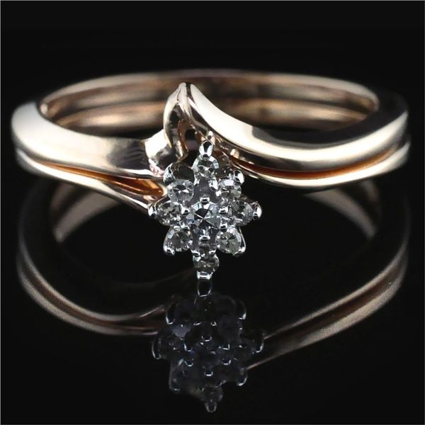 Rose Gold and Diamond Cluster Wedding Set Gerald's Jewelry Oak Harbor, WA