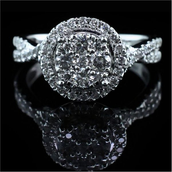 Cluster Style Diamond Engagement Ring Image 4 Gerald's Jewelry Oak Harbor, WA