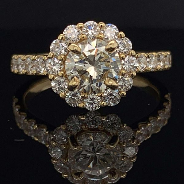 18K Yellow Gold And Diamond Halo Engagement Ring Gerald's Jewelry Oak Harbor, WA