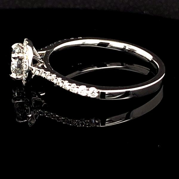 Diamond Halo Engagement Ring, .76Ct Total Weight Image 2 Gerald's Jewelry Oak Harbor, WA