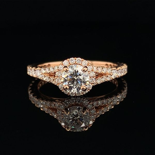 18K Rose Gold And Diamond Halo Engagement Ring Geralds Jewelry Oak Harbor, WA