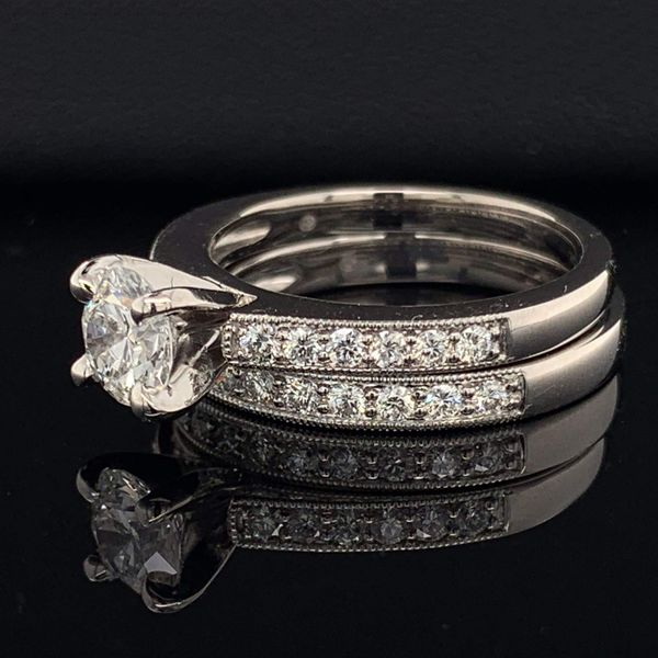 .585 Platinum And Hearts and Arrows Diamond Wedding Set Image 2 Gerald's Jewelry Oak Harbor, WA