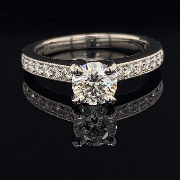 .585 Platinum And Hearts and Arrows Diamond Wedding Set Image 3 Gerald's Jewelry Oak Harbor, WA