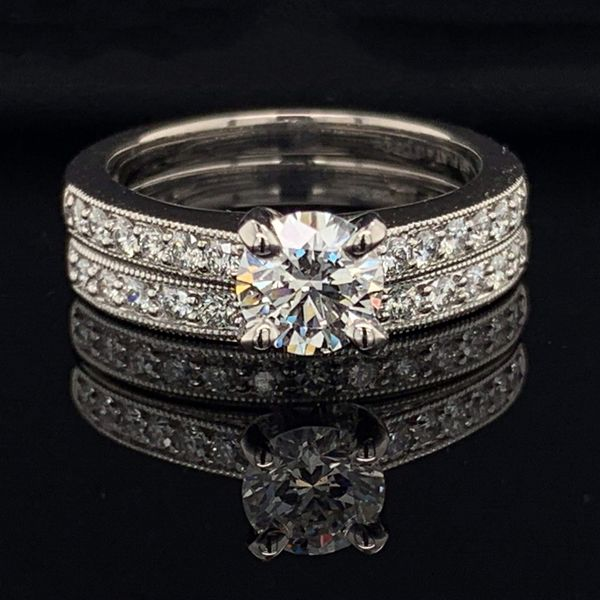 .585 Platinum And Hearts and Arrows Diamond Wedding Set Gerald's Jewelry Oak Harbor, WA