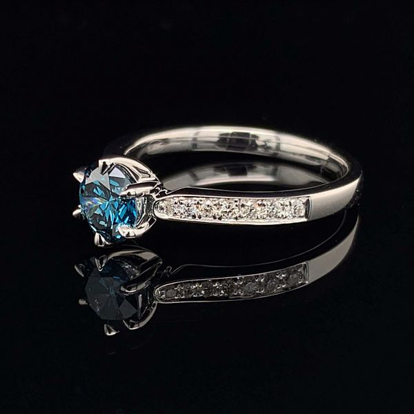 18K White Gold And Enhanced Blue And White Diamond Engagement Ring Image 2 Gerald's Jewelry Oak Harbor, WA