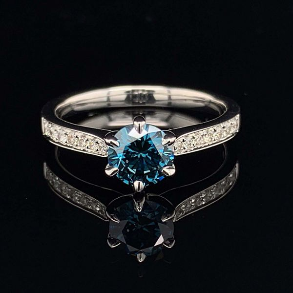 18K White Gold And Enhanced Blue And White Diamond Engagement Ring Gerald's Jewelry Oak Harbor, WA