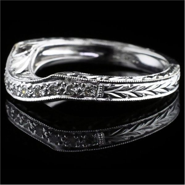 Hand Carved Diamond Wedding Band Image 2 Gerald's Jewelry Oak Harbor, WA