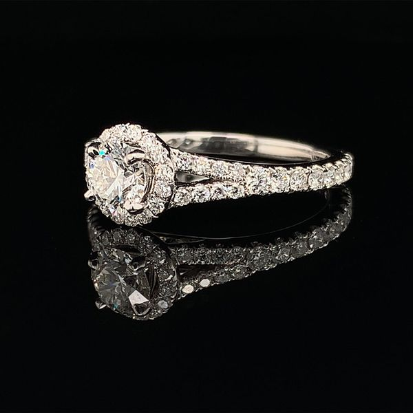 Hearts & Arrows Diamond Halo Style Ring, 1.17ct Total Diamond Weight Image 2 Gerald's Jewelry Oak Harbor, WA
