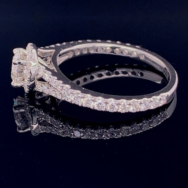 Hearts & Arrows Diamond Halo Style Ring, 1.17ct Total Diamond Weight Image 3 Gerald's Jewelry Oak Harbor, WA