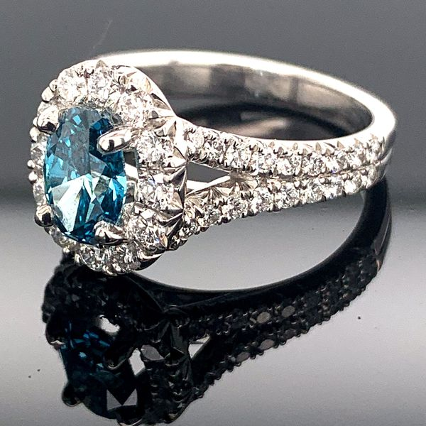 1.84Ct Total Weight Oval Enhanced Blue Diamond Ring Image 2 Geralds Jewelry Oak Harbor, WA