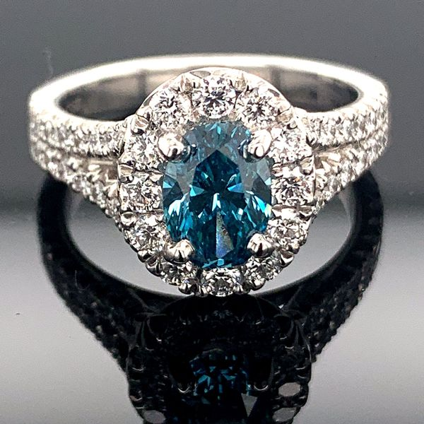 1.84Ct Total Weight Oval Enhanced Blue Diamond Ring Geralds Jewelry Oak Harbor, WA