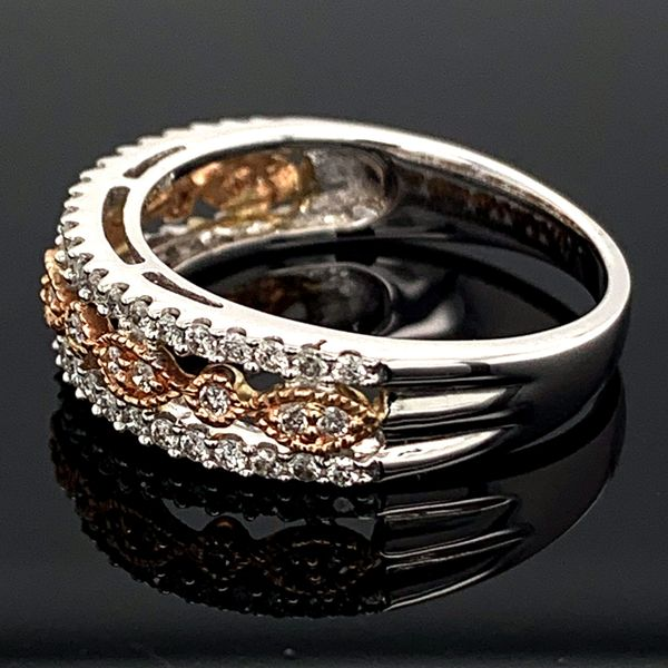 Ladies White and Rose Gold Diamond Fashion Ring Image 2 Gerald's Jewelry Oak Harbor, WA
