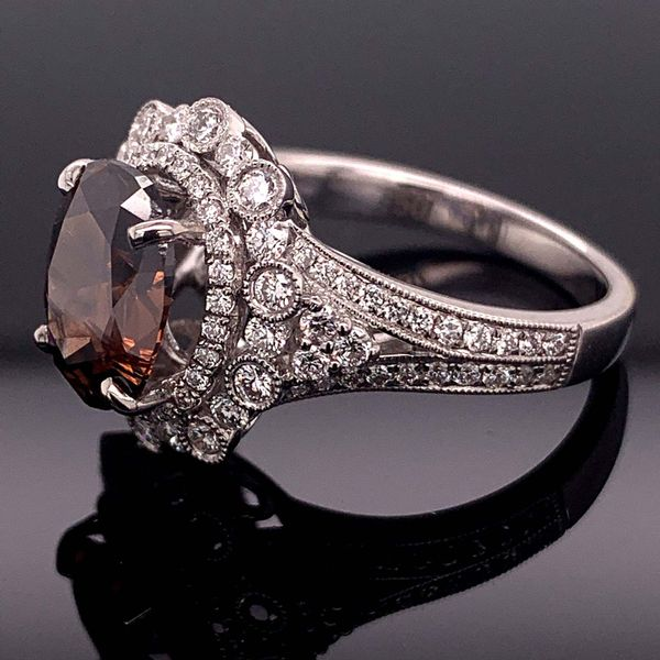 2.13Ct Oval Natural Fancy Cognac Colored Diamond Fashion Ring Image 2 Geralds Jewelry Oak Harbor, WA