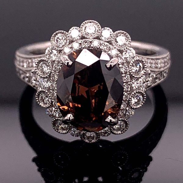 2.13Ct Oval Natural Fancy Cognac Colored Diamond Fashion Ring Gerald's Jewelry Oak Harbor, WA