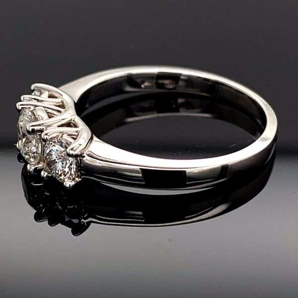 .75ct 14K White Gold Hearts And Arrows Cut Diamond 3-Stone Ring Image 2 Gerald's Jewelry Oak Harbor, WA