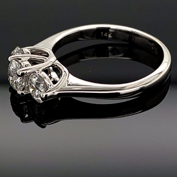 Ladies Ideal Cut 3 Stone Diamond Ring, 1.00Ct Total Weight Image 2 Gerald's Jewelry Oak Harbor, WA