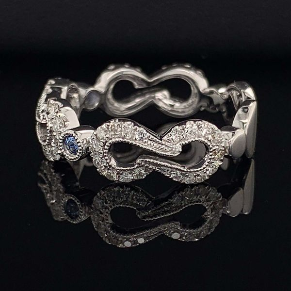 White Gold Diamond And Blue Sapphire Ladies Fashion Ring Image 2 Geralds Jewelry Oak Harbor, WA