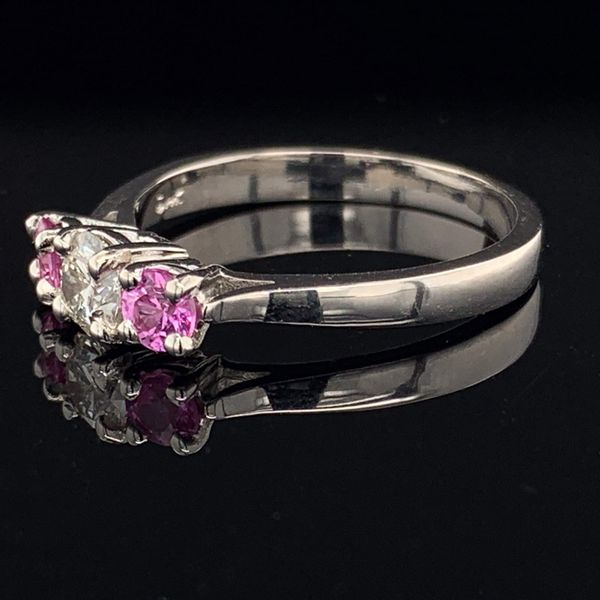 3 Stone Ring with Hearts and Arrows Diamond and 2 Vivid Pink Sapphires Image 2 Gerald's Jewelry Oak Harbor, WA