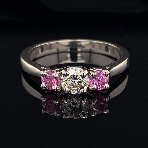 3 Stone Ring with Hearts and Arrows Diamond and 2 Vivid Pink Sapphires Gerald's Jewelry Oak Harbor, WA
