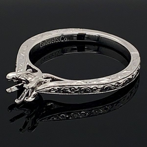Gabriel & Co. Carved Semi Mount Engagement Ring Image 2 Gerald's Jewelry Oak Harbor, WA