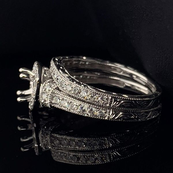 14K White Gold And Diamond Carved Ladies Wedding Set Image 2 Gerald's Jewelry Oak Harbor, WA