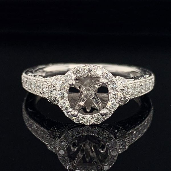 14K White Gold And Diamond Carved Ladies Wedding Set Image 3 Gerald's Jewelry Oak Harbor, WA