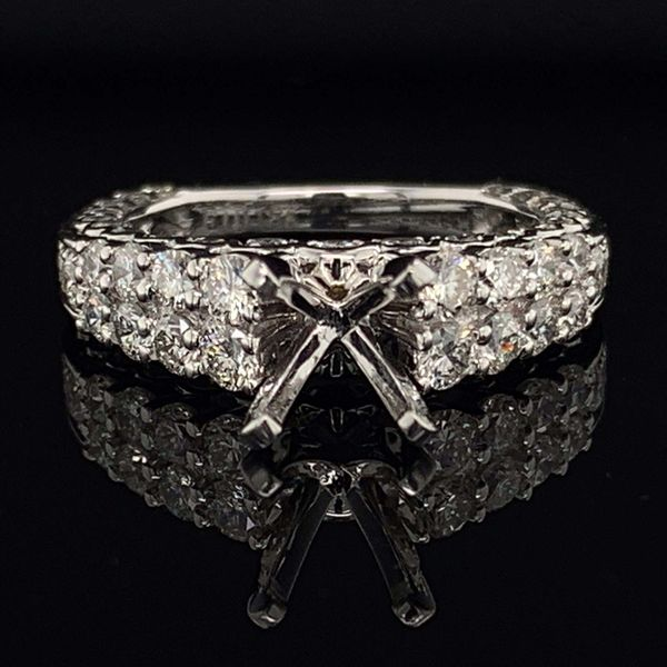 18K White Gold And Diamond Engagement Ring Without Center Stone Gerald's Jewelry Oak Harbor, WA