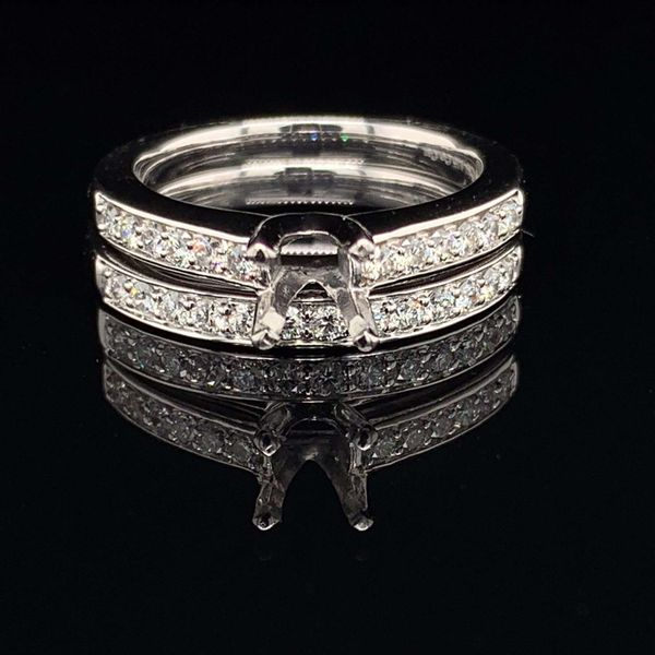 .585 Platinum And Diamond Ladies Wedding Set Without Center Stone Gerald's Jewelry Oak Harbor, WA