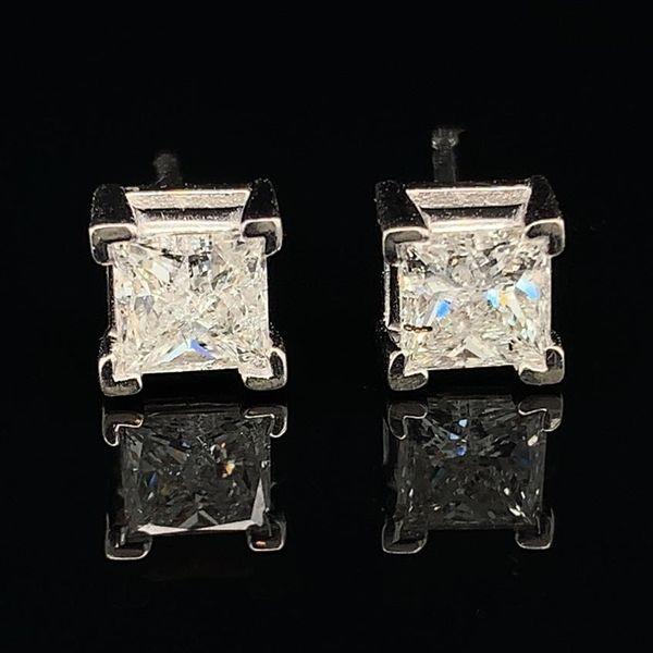 1 05ct Total Weight Princess Cut Diamond Stud Earrings