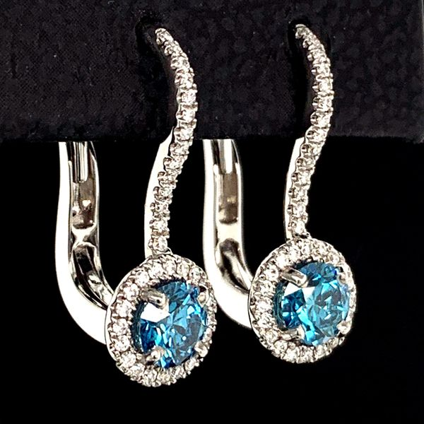 Blue Hearts And Arrows Cut Diamond Halo Earrings. .78Ct Total Diamond Weight Image 2 Gerald's Jewelry Oak Harbor, WA