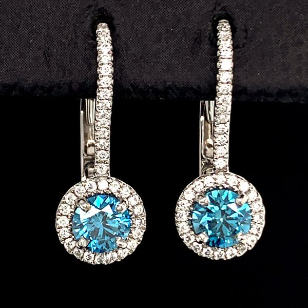 Blue Hearts And Arrows Cut Diamond Halo Earrings. .78Ct Total Diamond Weight Gerald's Jewelry Oak Harbor, WA