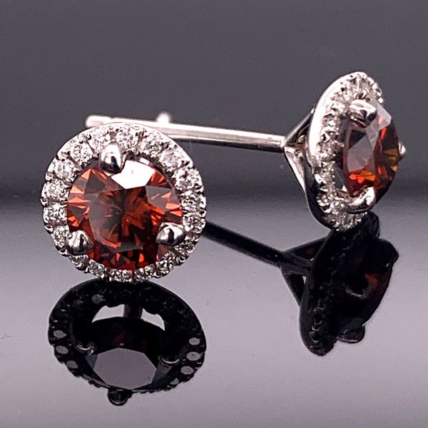 1.15Ct Total Weight Enhanced Red And White Diamond Halo Style Earrings Gerald's Jewelry Oak Harbor, WA