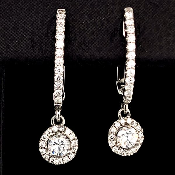 Hearts And Arrows Diamond Dangle Halo Style Earrings, .45Ct Total Weight Gerald's Jewelry Oak Harbor, WA