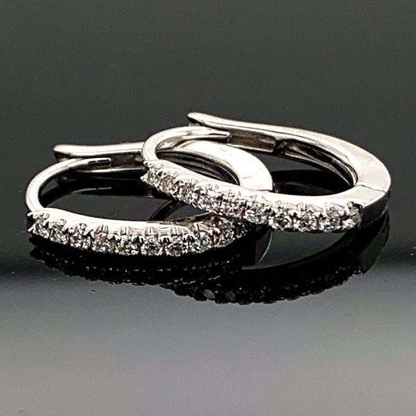 Diamond Leverback Hoop Earrings, .16Ct Total Weight Image 2 Gerald's Jewelry Oak Harbor, WA