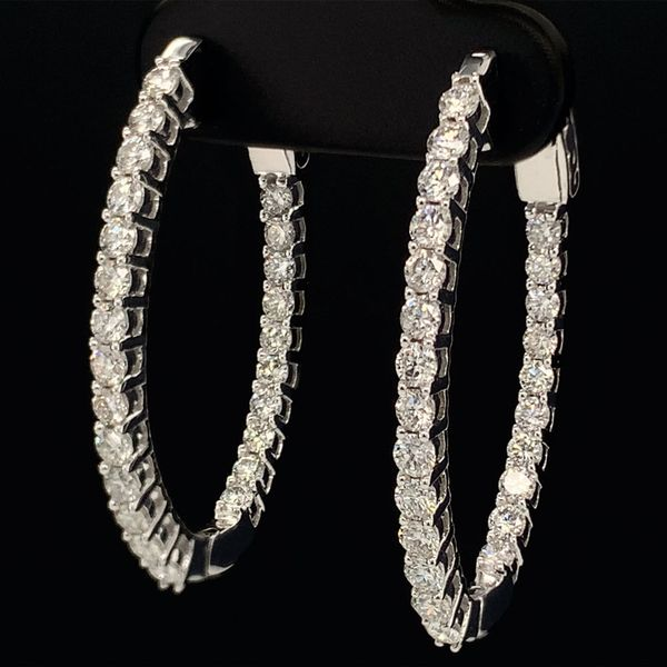1.50Ct Total Weight Inside Out Diamond Hoop Earrings Image 2 Gerald's Jewelry Oak Harbor, WA